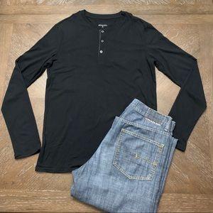 Black henley cotton long sleeve T-shirt